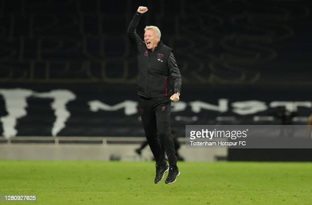 David Moyes, Manager of West Ham United celebrates following the Premier League match between Tottenham Hotspur and West Ham United at Tottenham...