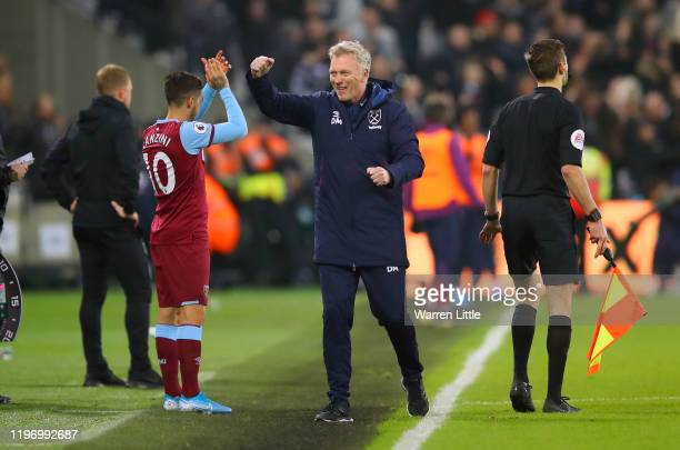 David Moyes Manager of West Ham United celebrates his sides fourth goal during the Premier League match between West Ham United and AFC Bournemouth...
