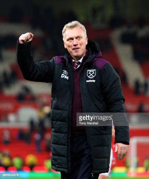David Moyes Manager of West Ham United celebrates their win at the end of the Premier League match between Stoke City and West Ham United at Bet365...