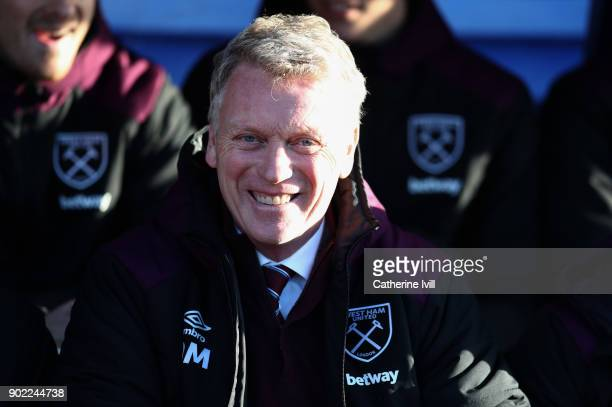 David Moyes manager of West Ham United during the Emirates FA Cup Third Round match between Shrewsbury Town and West Ham United at New Meadow on...
