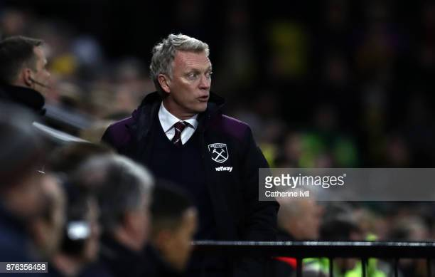 David Moyes manager of West Ham United during the Premier League match between Watford and West Ham United at Vicarage Road on November 19 2017 in...