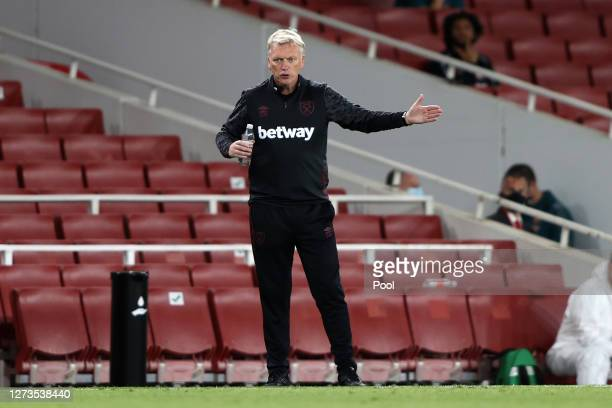 David Moyes, Manager of West Ham United gives his team instructions during the Premier League match between Arsenal and West Ham United at Emirates...