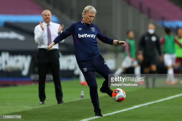 David Moyes, Manager of West Ham United kicks the ball during the Premier League match between West Ham United and Burnley FC at London Stadium on...