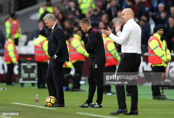 David Moyes Manager of West Ham United looks dejected after the Premier League match between West Ham United and Burnley at London Stadium on March...
