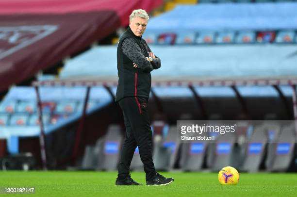 David Moyes, Manager of West Ham United looks on ahead of the Premier League match between Aston Villa and West Ham United at Villa Park on February...
