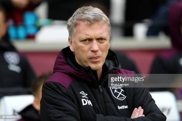 David Moyes Manager of West Ham United looks on ahead of the Premier League match between West Ham United and Watford at London Stadium on February...