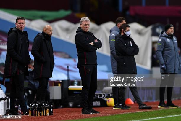 David Moyes, Manager of West Ham United looks on during the Premier League match between Aston Villa and West Ham United at Villa Park on February...
