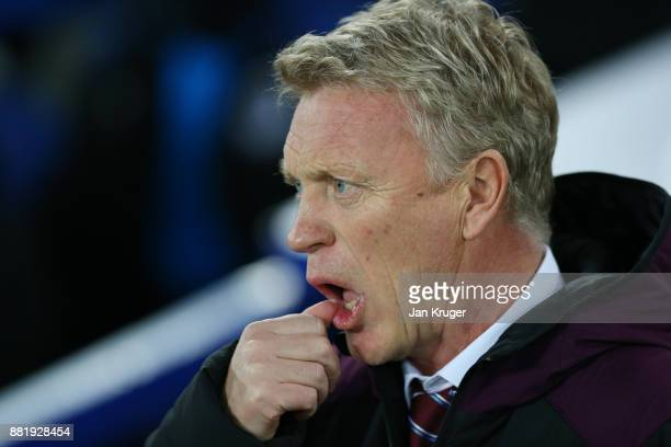 David Moyes Manager of West Ham United looks on during the Premier League match between Everton and West Ham United at Goodison Park on November 29...