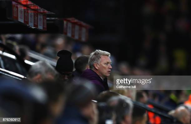 David Moyes Manager of West Ham United looks on from the bench during the Premier League match between Watford and West Ham United at Vicarage Road...