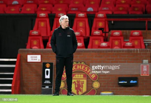 David Moyes, Manager of West Ham United looks on prior to The Emirates FA Cup Fifth Round match between Manchester United and West Ham United at Old...