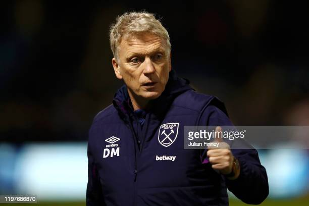 David Moyes, Manager of West Ham United looks on prior to the FA Cup Third Round match between Gillingham and West Ham United at MEMS Priestfield...