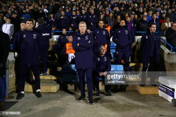 David Moyes, Manager of West Ham United looks on prior to the FA Cup Third Round match between Gillingham FC and West Ham United at MEMS Priestfield...