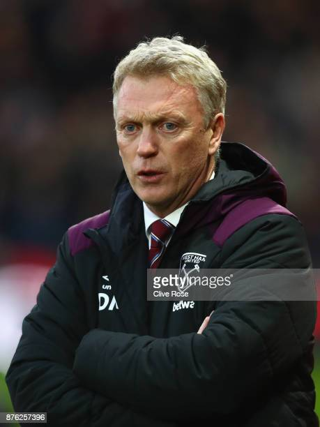 David Moyes Manager of West Ham United looks on prior to the Premier League match between Watford and West Ham United at Vicarage Road on November 19...
