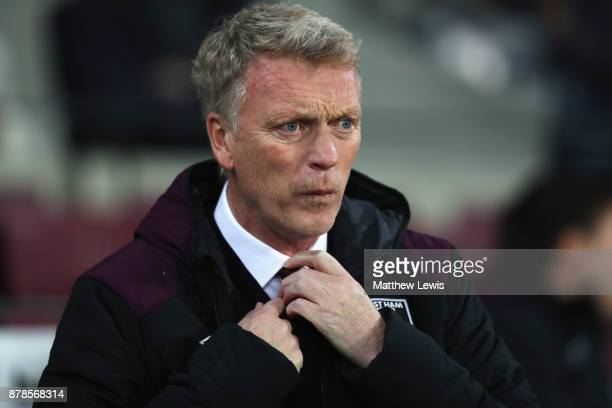 David Moyes Manager of West Ham United looks on prior to the Premier League match between West Ham United and Leicester City at London Stadium on...