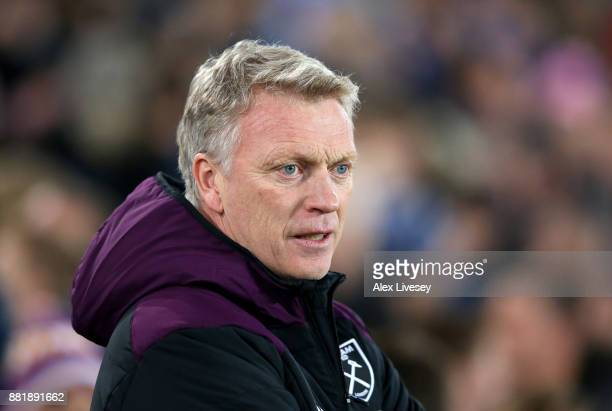 David Moyes Manager of West Ham United looks on prior to the Premier League match between Everton and West Ham United at Goodison Park on November 29...