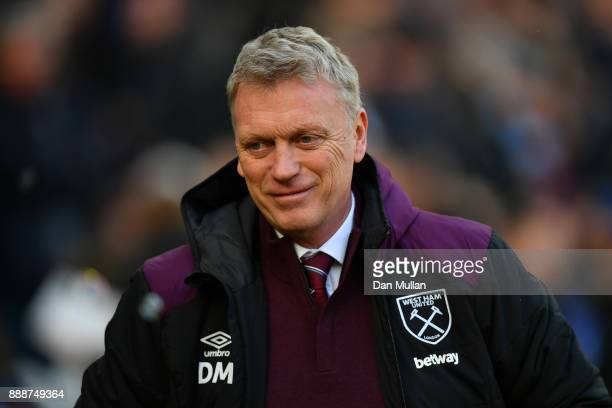David Moyes Manager of West Ham United looks on prior to the Premier League match between West Ham United and Chelsea at London Stadium on December 9...