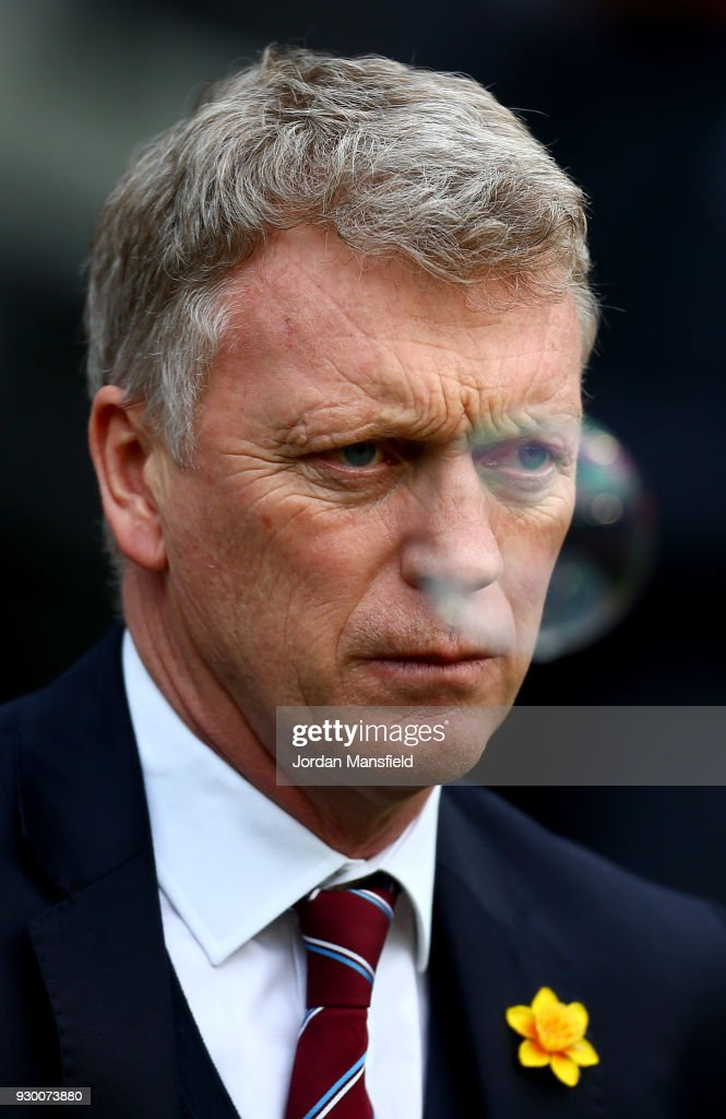 David Moyes, Manager of West Ham United looks on prior to the Premier League match between West Ham United and Burnley at London Stadium on March 10, 2018 in London, England.