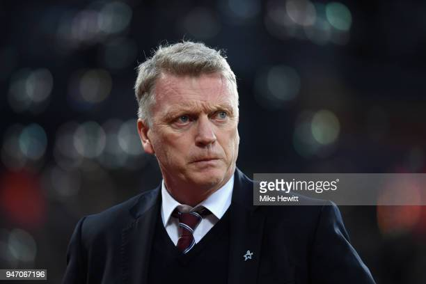 David Moyes Manager of West Ham United looks on prior to the Premier League match between West Ham United and Stoke City at London Stadium on April...