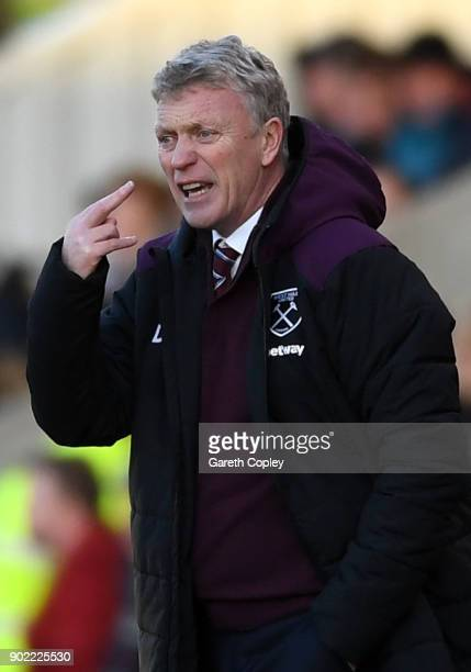 David Moyes Manager of West Ham United reacts during The Emirates FA Cup Third Round match between Shrewsbury Town and West Ham United at Montgomery...