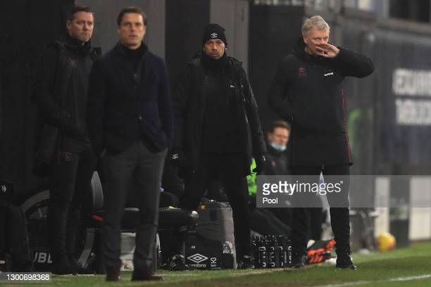 David Moyes, Manager of West Ham United reacts during the Premier League match between Fulham and West Ham United at Craven Cottage on February 06,...