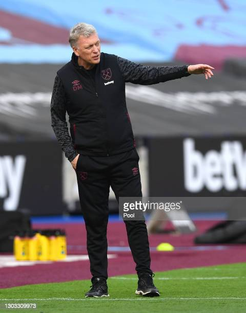 David Moyes, Manager of West Ham United reacts during the Premier League match between West Ham United and Tottenham Hotspur at London Stadium on...