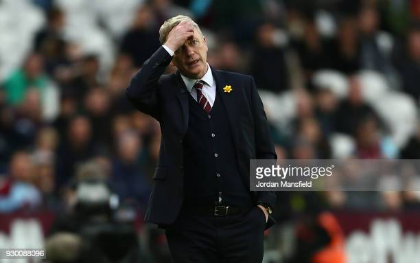David Moyes Manager of West Ham United reacts during the Premier League match between West Ham United and Burnley at London Stadium on March 10 2018...