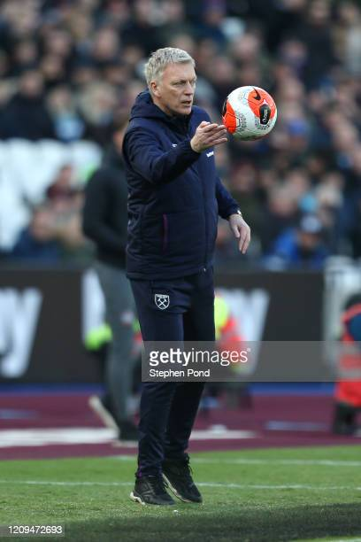 David Moyes Manager of West Ham United throws the ball during the Premier League match between West Ham United and Southampton FC at London Stadium...