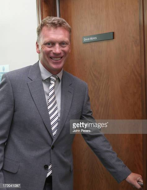 David Moyes of Manchester United arrives for his first day of work as the club's new manager at Carrington Training Ground on July 1 2013 in...
