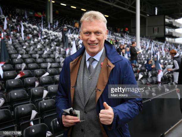 David Moyes poses for a photograph inside the stadium prior to the Premier League match between Fulham FC and AFC Bournemouth at Craven Cottage on...