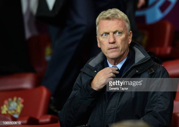 David Moyes sits in the stands during the Premier League Match between Burnley FC and Newcastle United at Turf Moor on November 26 in Burnley England