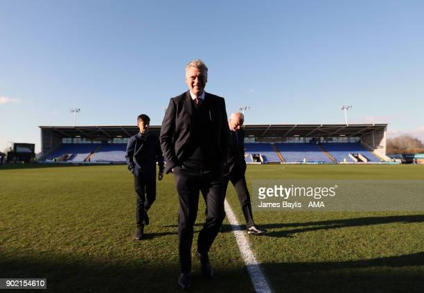 David Moyes the manager / head coach of West Ham United looks at the pitch before The Emirates FA Cup Third Round between Shrewsbury Town and West...