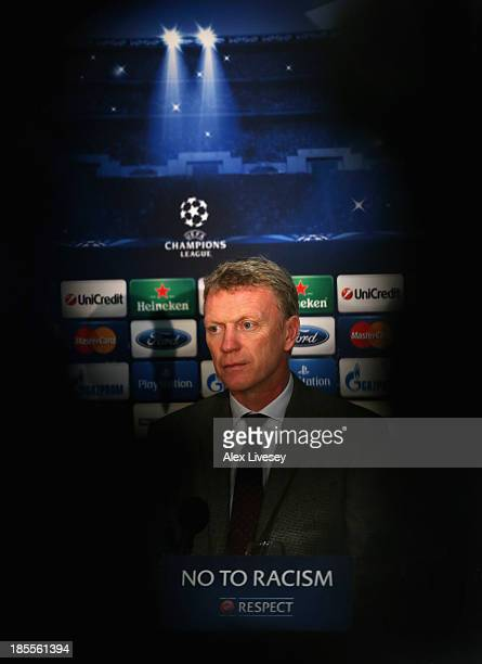 David Moyes the manager of Manchester United faces the media during a press conference at Old Trafford on October 22 2013 in Manchester England