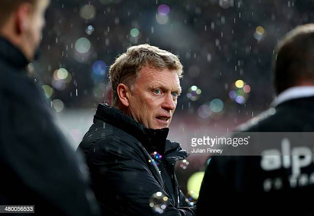 David Moyes the Manchester United manager looks on during the Barclays Premier League match between West Ham United and Manchester United at Boleyn...