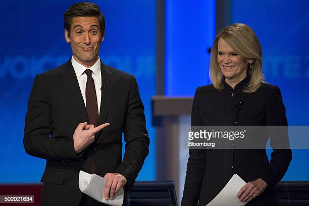 David Muir ABC News Inc World News Tonight anchor left points to Martha Raddatz ABC News chief global affairs correspondent after she adjusted his...