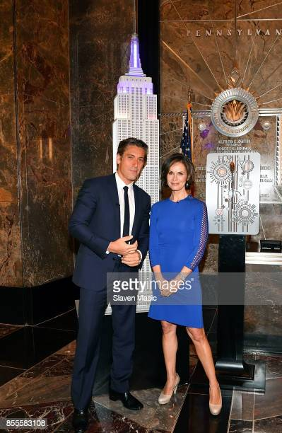David Muir and Elizabeth Vargas visit The Empire State Building to celebrate the 40th season of ABC's '20/20' at The Empire State Building on...