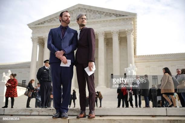 David Mullins and Charlie Craig wait to speak to journalists after the US Supreme Court hear the case Masterpiece Cakeshop v Colorado Civil Rights...