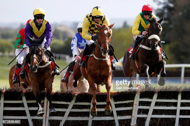 David Mullins riding Cilaos Emery on their way to winning The herald Champion Novice Hurdel at Punchestown racecourse on April 25 2017 in Naas Ireland
