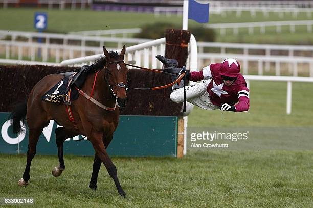 David Mullins riding Identity Thief fall during The Frank Ward Solicitors Arkle Novice Steeplechase at Leopardstown racecourse on January 29 2017 in...