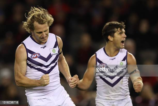 David Mundy of the Dockers celebrates after scoring a goal during the round 9 AFL match between the Essendon Bombers and the Fremantle Dockers at...