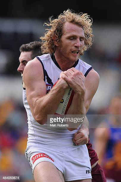 David Mundy of the Dockers marks during the round 22 AFL match between the Brisbane Lions and the Fremantle Dockers at The Gabba on August 24 2014 in...
