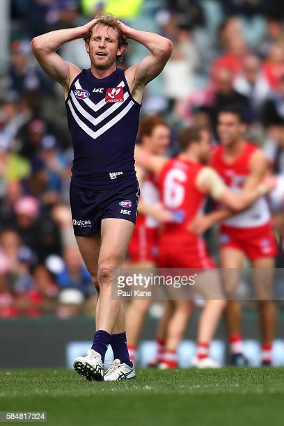 David Mundy of the Dockers reacts after a Sydney goal during the round 19 AFL match between the Fremantle Dockers and the Sydney Swans at Domain...