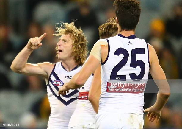 David Mundy of the Fremantle Dockers celebrates after kicking the match winning goal during the round 17 AFL match between the Richmond Tigers and...