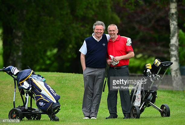 David Murchie , and Alisdair Eccles , of Crieff Golf Club working together during the Lombard Trophy - Scottish Qualifier at Crieff Golf Club on June...