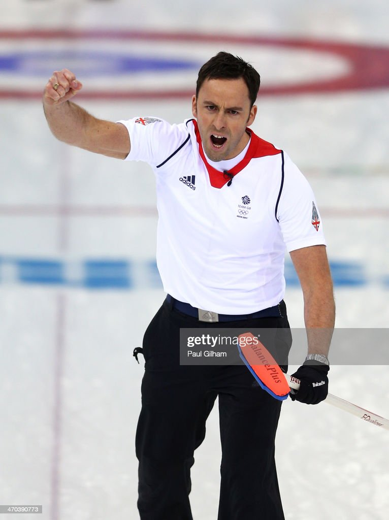 David Murdoch of Great Britain celebrates winning with the final stone in the men's semifinal match between Sweden and Great Britain at Ice Cube Curling Center on February 19, 2014 in Sochi, Russia.