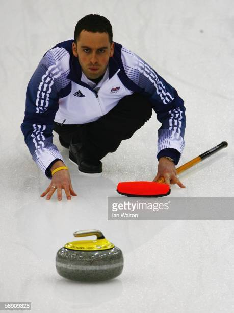David Murdoch of Great Britain follows her throw during the semifinal of the Men's curling between Finland and Great Britain during Day 12 of the...