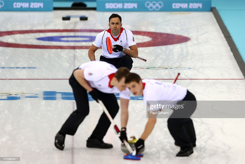 David Murdoch of Great Britain looks on as he releases the final stone to win the match in the men's semifinal match between Sweden and Great Britain at Ice Cube Curling Center on February 19, 2014 in Sochi, Russia.