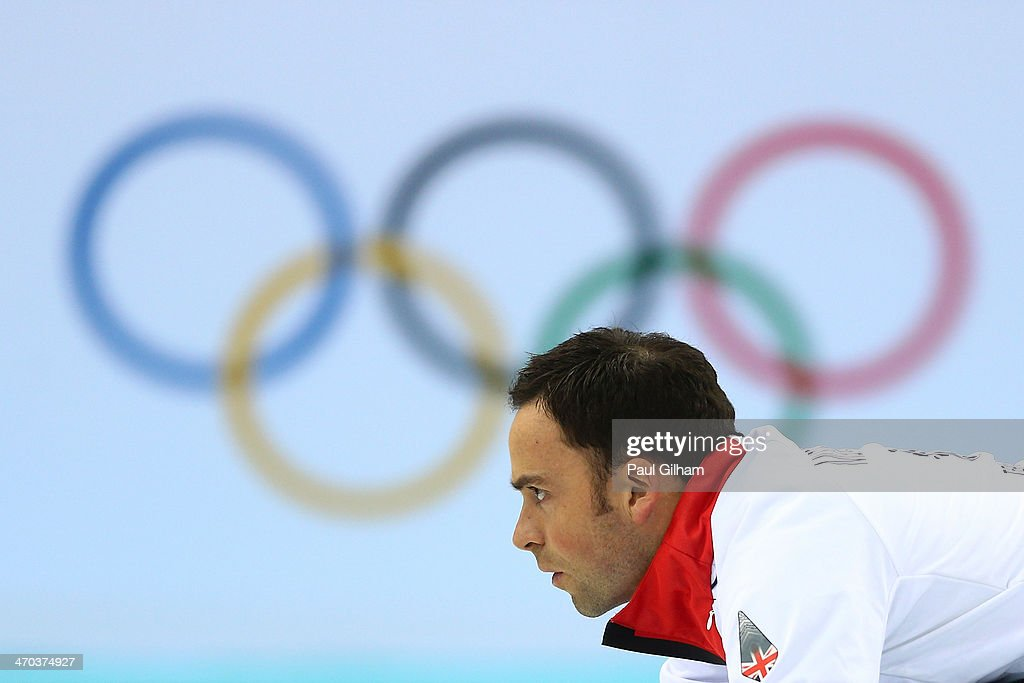 David Murdoch of Great Britain looks on during the men's semifinal match between Sweden and Great Britain at Ice Cube Curling Center on February 19, 2014 in Sochi, Russia.