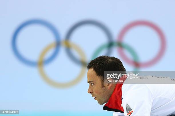 David Murdoch of Great Britain looks on during the men's semifinal match between Sweden and Great Britain at Ice Cube Curling Center on February 19...