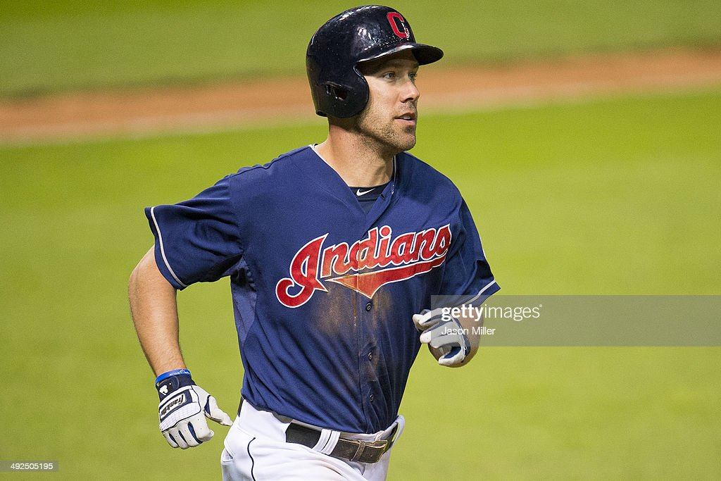 David Murphy #7 of the Cleveland Indians rounds the bases after hitting a solo home run during the seventh inning against the Detroit Tigers at Progressive Field on May 20, 2014 in Cleveland, Ohio.