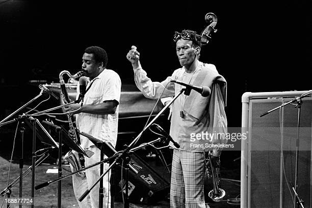 David Murray performs live on stage with Don Cherry at the NOS Jazz festival at de Meervaart in Amsterdam Netherlands on 15th August 1987